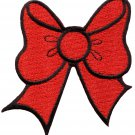 Red bow knot ribbon boho retro sew sewing applique iron-on patch G-20