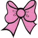 Pink bow knot ribbon boho retro sew sewing applique iron-on patch G-19
