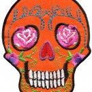 Skull tattoo biker horror goth punk emo rock retro applique iron-on patch G-31