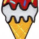 Ice cream cone 70s retro fun desert sweets kids applique iron-on patch G-42