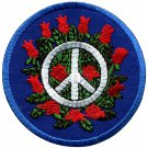 Peace sign hippie boho retro flower power distressed applique iron-on patch G-49