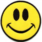 Smiley face smile boho 70's retro fun embroidered applique iron-on patch G-53