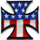 German Iron Cross American Flag biker retro motorcycle iron-on patch new S-88