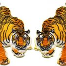 2 tiger cat jaguar lion panther applique iron-on patches LARGE 3.88 X 4.88 in.