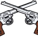 Six guns pistols cowboy western gunfighter applique iron-on patch new G-67