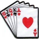 Straight hand playing cards biker retro poker applique iron-on patch S-528