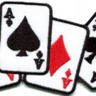 Four aces playing cards biker retro poker las vegas applique iron-on patch S-584