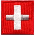 Flag of Switzerland Swiss embroidered applique iron-on patch small S-337 new
