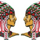 Lot of 2 Native American Indian chief ethnic retro applique iron-on patches new