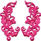 Pink trim fringe retro boho granny chic applique iron-on patches pair new S-746