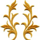 Gold trim fringe leaves glitter retro boho applique iron-on patches pair S-497