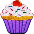 Cupcake retro disco fun applique iron-on patch S-203
