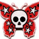 Butterfly skull horror goth emo punk biker applique iron-on patch new S-182