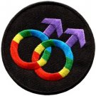 Gay pride symbol rainbow retro disco fab LGBT applique iron-on patch new S-142