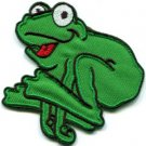 Frog toad hippie 70s retro fun animal amphibian applique iron-on patch new S-510