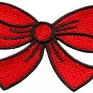 Red bow knot ribbon boho retro sew sewing applique iron-on patch new S-513