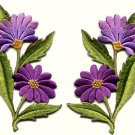 Purple daisies pair flowers floral bouquet boho applique iron-on patch new S-730