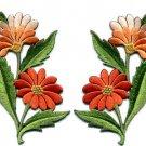 Orange daisies pair flowers floral bouquet boho applique iron-on patch new S-726