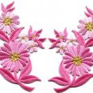 Pink daisies pair flowers floral bouquet boho applique iron-on patch new S-735