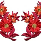 Orange red daisies pair flowers floral bouquet boho applique iron-on patch S-736