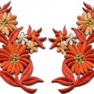 Orange daisies pair flowers floral bouquet boho applique iron-on patch new S-734