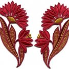 Ruby red flowers floral boho granny chic applique iron-on patches pair new S-757
