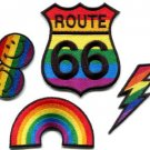 Lot of 4 gay lesbian pride rainbow disco boho LGBT appliques iron-on patches G-4