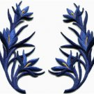 Royal blue trim fringe flower retro boho applique iron-on patches pair S-1107