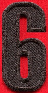 Number 6 numeral math counting six school applique iron-on patch new S-951