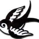 Bird tattoo swallow dove swiftlet sparrow biker applique iron-on patch S-1004