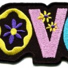 Love peace hippie boho retro flower power hippy embroidered iron-on patch S-36