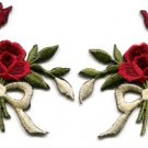 Red roses pair flowers floral bouquet retro boho applique iron-on patch S-544