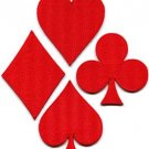 Lot of 4 playing cards red suit diamonds spades poker applique iron-on patches