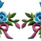 Blue roses pair flowers floral bouquet retro boho applique iron-on patch S-545