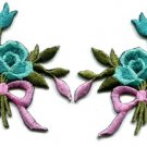 Aquamarine roses pair flowers floral bouquet boho applique iron-on patch S-547