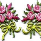 Pink roses pair flowers floral bouquet retro boho applique iron-on patch S-519