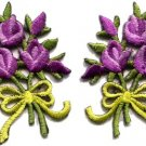 Lavender roses pair flowers floral bouquet boho applique iron-on patch S-522