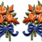 Orange roses pair flowers floral bouquet retro boho applique iron-on patch S-521