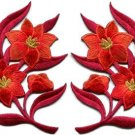 Red orange lilies pair flowers floral bouquet boho applique iron-on patches S759