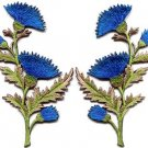 Blue carnation spray pair flowers floral boho applique iron-on patches S-756