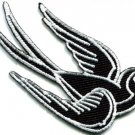 Bird tattoo swallow dove swiftlet sparrow biker applique iron-on patch new S-361