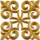 Gold trim fleur de lis fringe boho retro sew applique iron-on patch new S-1095