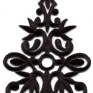 Black trim fringe boho art deco sew embellishment applique iron-on patch S-1101