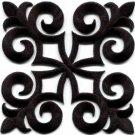 Black trim fleur de lis fringe boho retro sew applique iron-on patch new S-1094