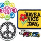 Lot of 4 peace sign hippie retro love boho weed appliques iron-on patches P-2
