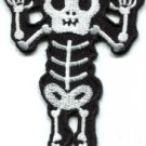 Skull skeleton goth punk emo horror biker sew applique iron-on patch Large S-427