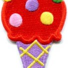 Ice cream cone 70s retro fun dessert sweets kids applique iron-on patch S-380