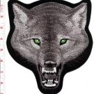 Gray wolf wolves biker applique iron-on patch new XL 7.75 x 8.6 inches S-395