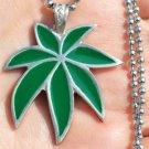 Pot leaf marijuana weed spliff kush hippie boho retro pewter pendant necklace
