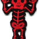 Skull skeleton goth punk emo horror biker sew applique iron-on patch new S-663